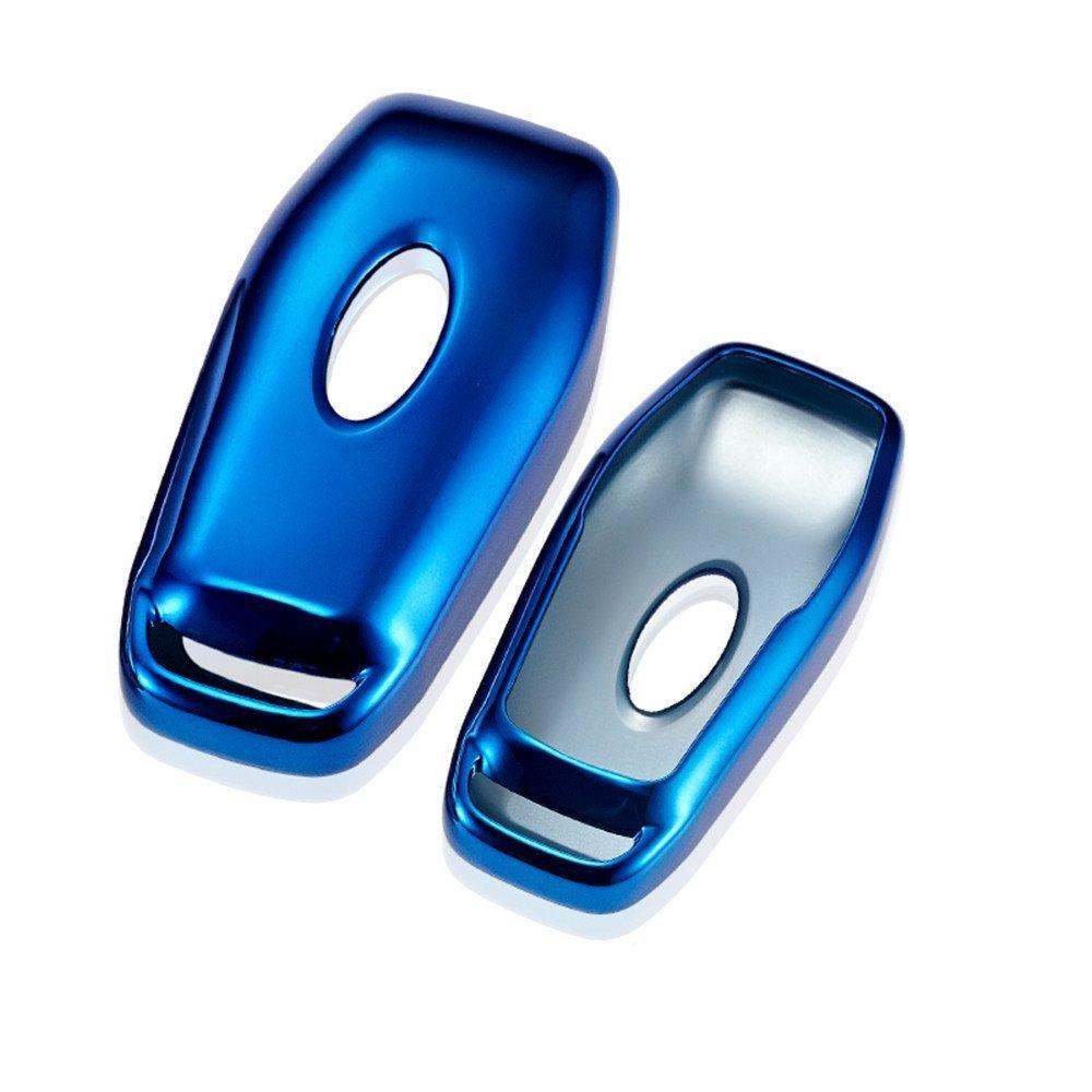 リモートキーFobケースカバー用フォードスマートキーチェーンフィットExplorerエッジMustangモンデオFocus mk3 mk4エスケープフィエスタEcosportクーガホルダーバッグ ブルー TPFBL001 B076H12S8K ブルー ブルー