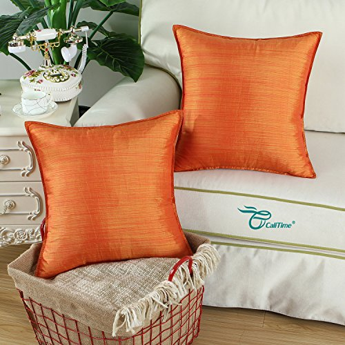 Buy orange silk pillow case