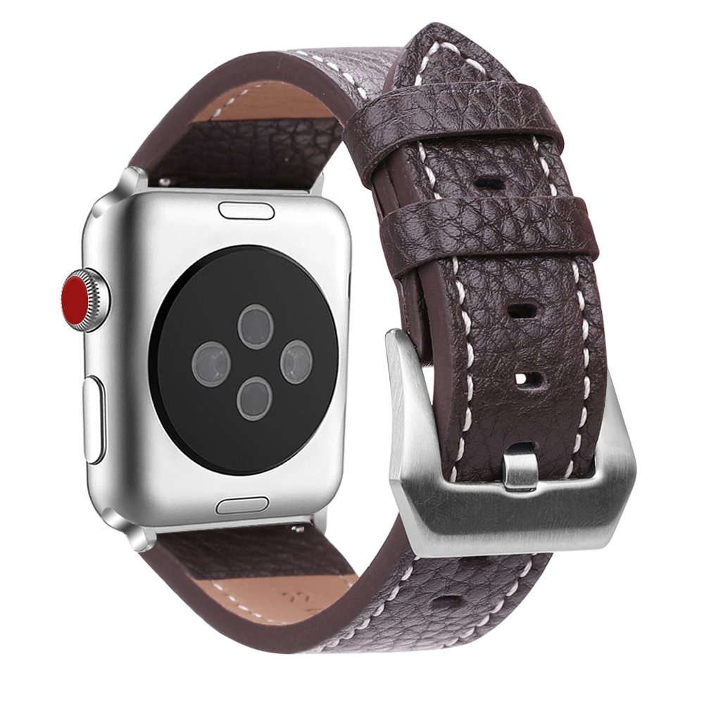 Fintie Band for Apple Watch 44mm 40mm, Genuine Leather Replacement Wrist Strap Compatible with Apple Watch Series 4 Series 3 Series 2 Series 1 - ...