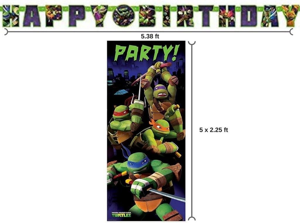 BT Teenage Mutant Ninja Turtle Birthday Banner and 2.25ft x 5ft Party Door Poster
