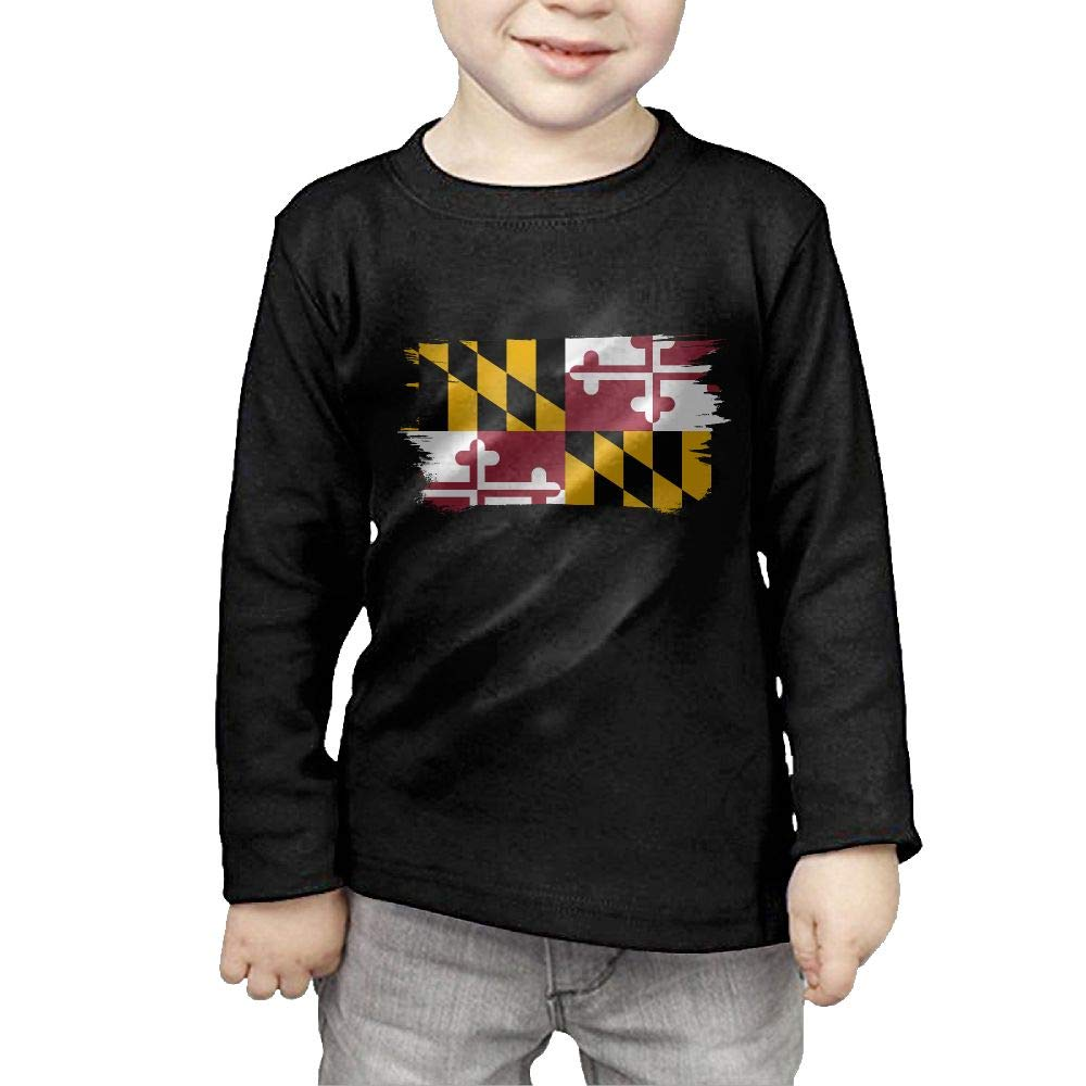 Fryhyu8 Toddler Kids Flag of Maryland Printed Long Sleeve 100/% Cotton Infants T Shirts