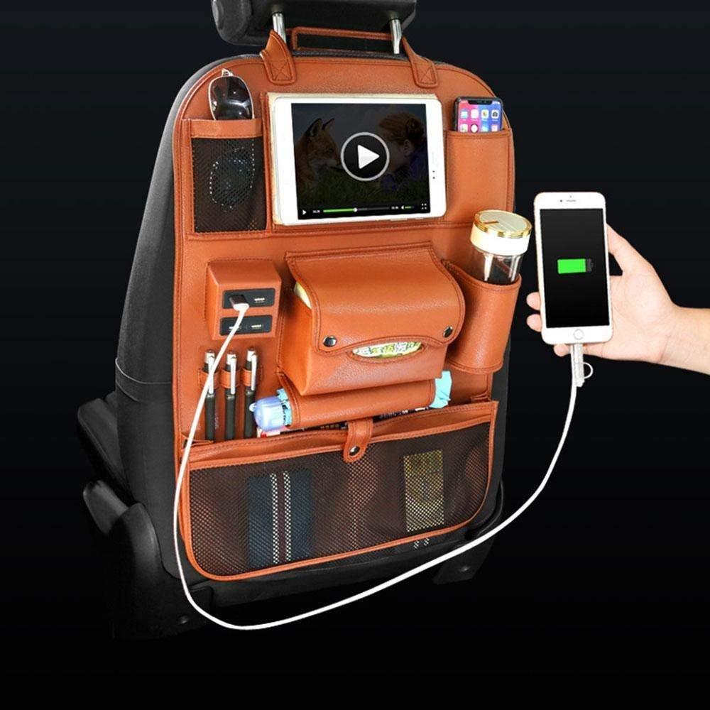Aisaving Car Back Seat Organizer PU Leather Automobile Back Seat Protector Kick Mat with IPad Holder, 4 USB Charging Ports … (Black)