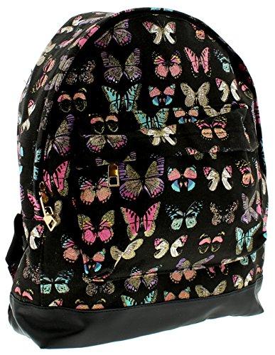 Nuevo Mujer Negro Estampado De Mariposas backpackzip Top cierre - Negro / multi - GB Tallas 1-1