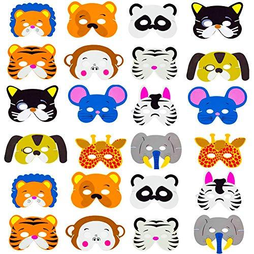 SWZY Foam Animal Masks,24 Assorted Party Favor Children's Foam Eva Cartoon Masks Jungle Animal Foam Face -