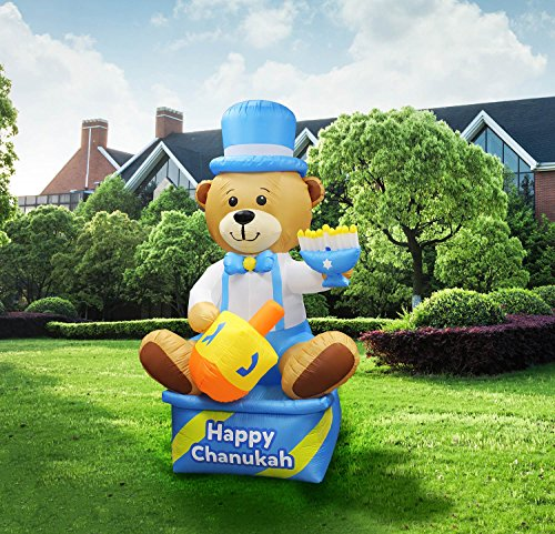 Zion Judaica Inflatable Lawn Bear Indoor Outdoor Decoration with LED Night Glowing Lights - 8' Feet 2017 Version by Zion Judaica Ltd (Image #1)