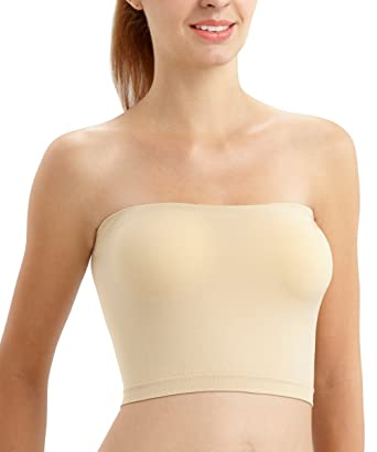 a532aa7aa51bf Anny Women s Beige Basic Strapless Tube Top Bandeau Crop Top    Amazon.co.uk  Clothing
