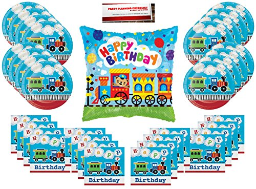 All Aboard Choo Choo Trains Party Supplies Bundle Pack for 16 (Bonus 18 Inch Balloon Plus Party Planning Checklist by Mikes Super Store) Train Party Plates