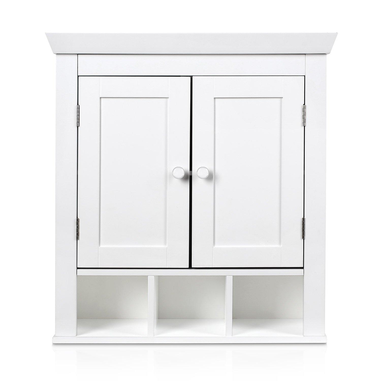 HOMFA Meuble Salle de Bains Armoire de Toilette avec Miroir Armoire Suspendue Blanc (Type-1)