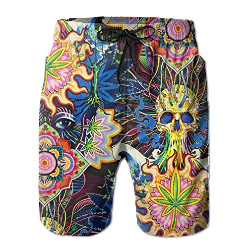 SNM HILL Mens Quick Dry Beach Shorts Psychedelic Pot Leaf Skull Floral Boardshorts Swim Surf Trunks -