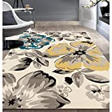 Vibrant Unique Floral Garden Patterned Area Rug, Stylish Bold Paradise Flower Themed, Rectangle Indoor Living Room Bedroom Hallway Carpet, Nature Lover Design Modern Style, Yellow, Grey, Size 5' x 7'