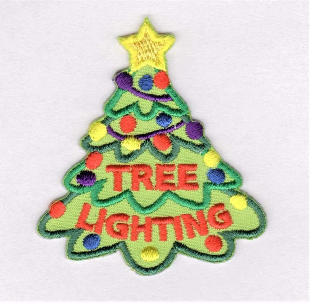 "Christmas /""TREE LIGHTING/"" PATCH-Iron On Embroidered Applique//Holidays Decor"