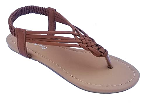 4a9984e5b44 Amazon.com | CmFncy Elegant Women's Fashion Camel Color Gladiator Thong Flat  Cute Sandals with Rhinestones | Flats