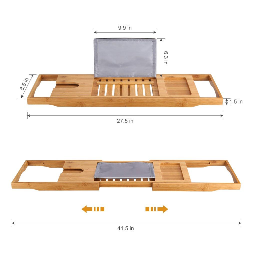LANGRIA Bath Tray Bamboo Bathtub Caddy with Extending Sides, Mug ...