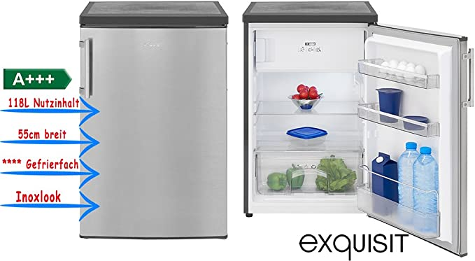 Exquisit KS 16 – 4 A + + + INOX Look Frigorífico con congelador a ...