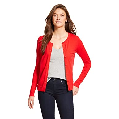 Merona Women's Favorite Cardigan Sweater Red Crew Neck (Large) at ...