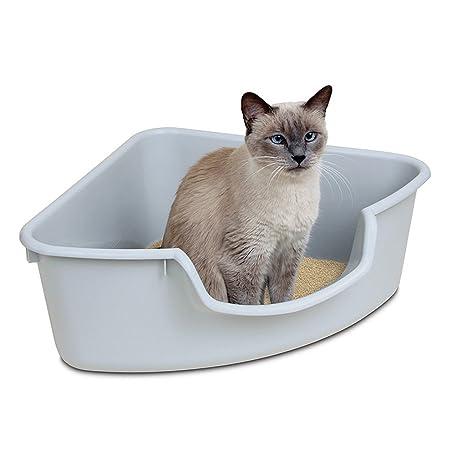 PLDDY Bandeja para Gatos, Inodoro Grande Y Triangular para Gatos, Bentonita, Arena Higiénica