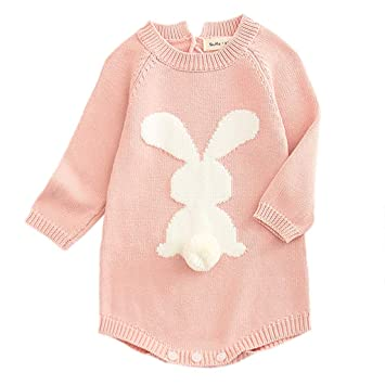 bdeee5ef29d1e Warm Knit Romper For Newborn Baby Girl Long Sleeves Cartoon Rabbit Sweater  Bodysuit Onesie Outfit Jumpsuit