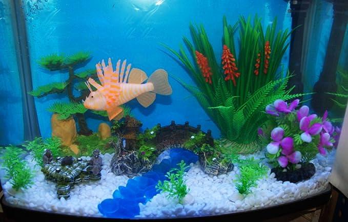 Wicemoon 10 piezas de simulación de plástico para acuario, pecera, tortuga, pecera, decoración de paisaje, falsas plantas acuáticas (color al azar): ...