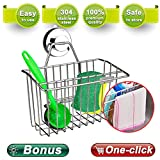Zolove Suction Cup Caddy Basket, Stainless Steel Storage Rack No Drill Removable & Reusable Bathroom Shelf Kitchen Sponge Holder with extra Bonus: A Sponge and A Scrubber