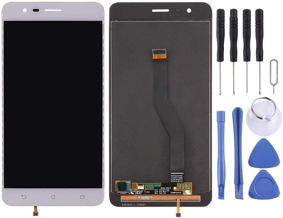 Smartillumi LCD Screen Replacement LCD Screen and Digitizer Full Assembly for Asus ZenFone 3 Zoom // ZE553KL Z01HD LCD Screen Replacement Black Color : White
