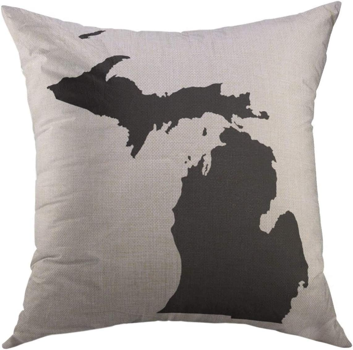 Amazon Com Mugod Throw Pillow Cover State Michigan In Black Shape Home Decor Pillow Case 18x18 Inch Home Kitchen