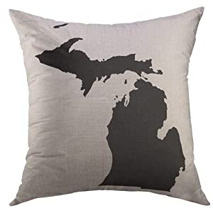 Mugod Throw Pillow Cover State Michigan in Black Shape Home Decor Pillow case 18x18 Inch