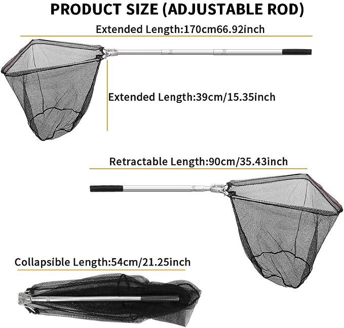 Nowakk Tragbares dreieckiges Brail-faltendes Fischernetz-Kescher mit Aluminiumlegierungs-Pole-Griff-Angelger/ät