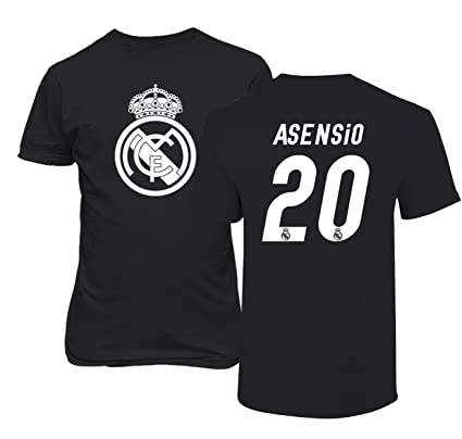 Real Madrid Marco ASENSIO #20 Jersey Shirt Soccer Football Mens T Shirt (Black,