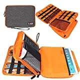 BUBM Travel Cord Organizer,Waterproof Electronics Organizer for iPad,USB Cable,Flash Drive,Phone Charger,Power Bank,External Hard Drive,Carrying Gadget Bag(Large,Gray)