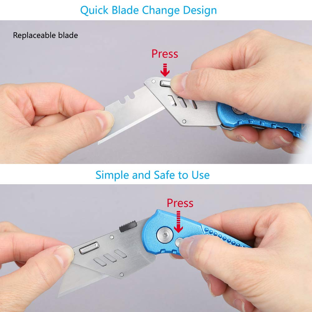 Folding Utility Knife Heavy Duty Box Cutter with 5 SK5 Quick Change Blades, Safety Lock-Back Design, Lightweight Aluminum Body Belt Clip for Office, Home(Blue)