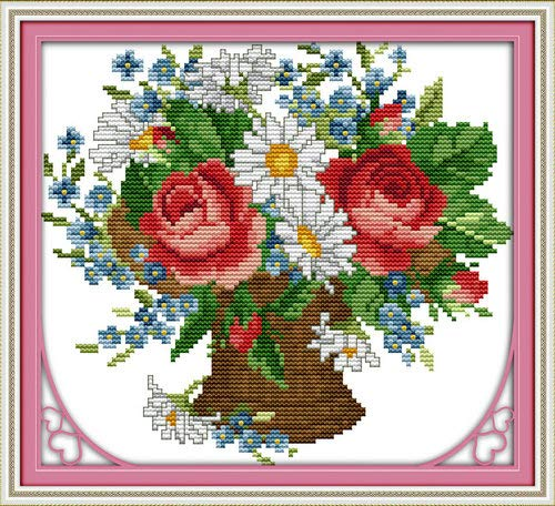 """Joy Sunday Cross Stitch Kits,Flower Style,All Flowers Bloom Together,14CT Stamped, 26cm×22cm or 10.14""""×8.58"""""""