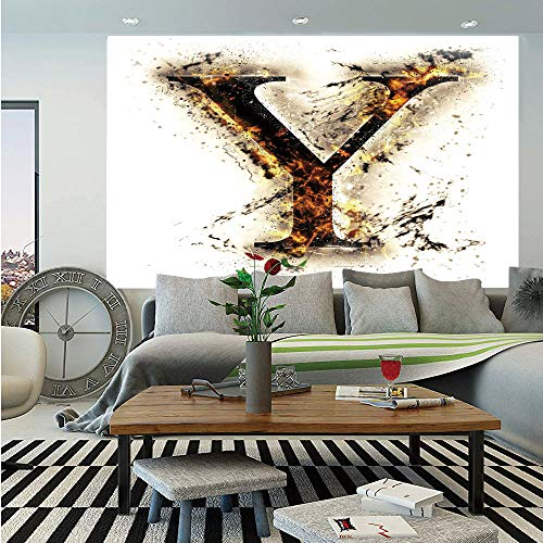 - Letter Y Huge Photo Wall Mural,Capital Y in Flames Burning Grunge Gothic Style Conceptual Model of Alphabet Decorative,Self-adhesive Large Wallpaper for Home Decor 100x144 inches,Tan Black Orange