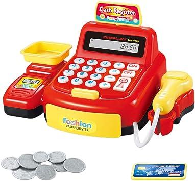 Toyvian Juguete de Caja registradora Compras realistas Tienda de supermercado Juguete con calculadora Escáner de Trabajo Pesaje para niños Fiesta de simulación de niños (Rojo sin batería): Amazon.es: Juguetes y juegos