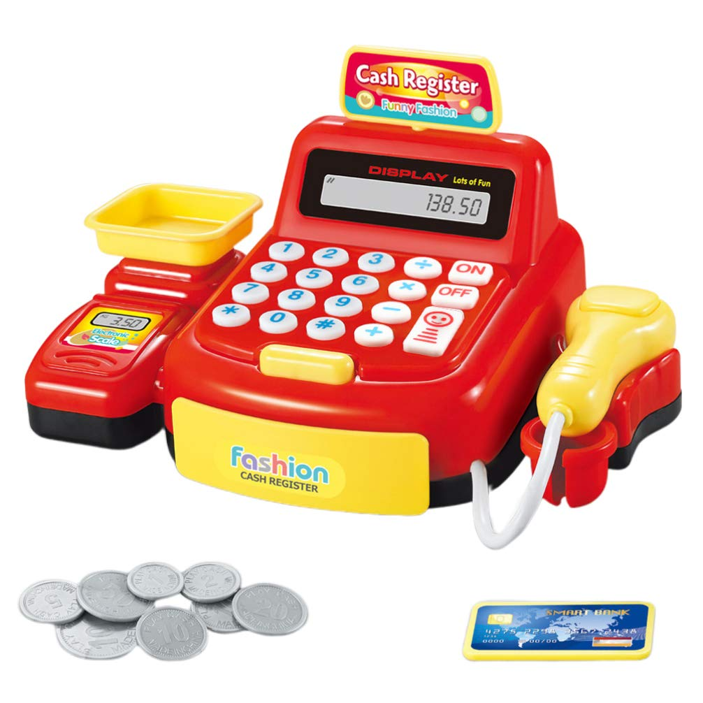 Toyvian Cash Register Toy Realistic Shopping Supermarket Shop Toy with Calculator Working Scanner Weighing for Kids Children Pretend Party (Red Without Battery) by Toyvian