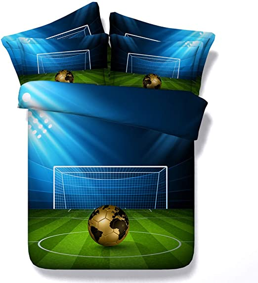 3D Futbol Azul Verde Funda de Edredón con Cremallera, Tropical Rosado Flamenco Animal Juego de Cama, 2 Personas Sirena Algodón Juego de Cama Niña Niño (Fútbol, 220x240cm para Cama 150cm): Amazon.es: Hogar