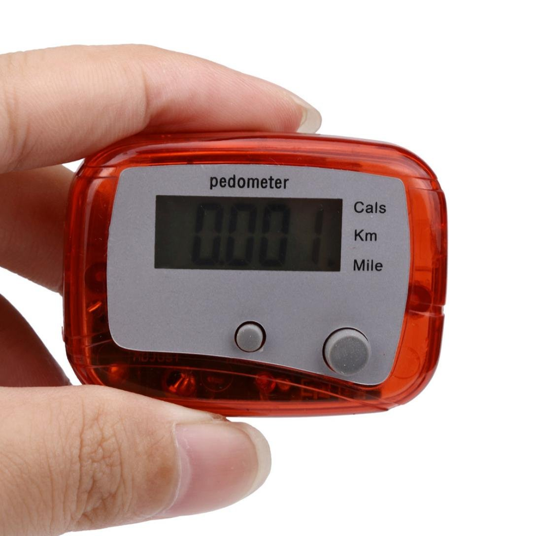 Perman LCD Pedometer Step Walking Jogging Calorie Counter Distance Fitness + Belt Clip (Red)