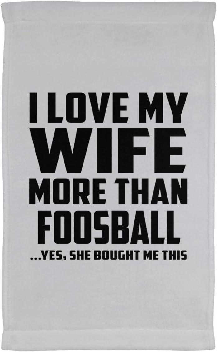 Marido toalla, I Love My esposa más de futbolín... Sí, Ella Me compró esta – Toalla de cocina, toalla de terciopelo de microfibra, mejor regalo para marido, él, hombres, hombre de mujer,