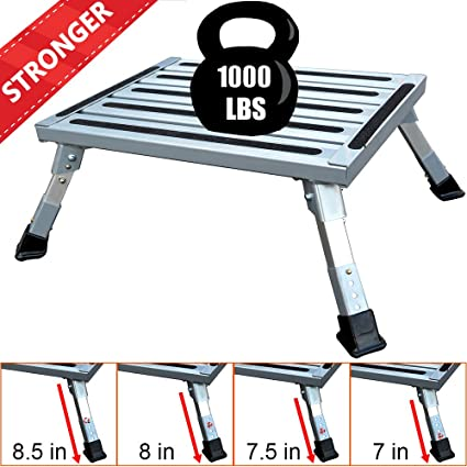 RV T Level More Stable Supports Up to 1000 lbs Reflective Stripe Flsepamb RV Step Grip Handle Aluminum Folding Platform Step,RV Step Stool with Non-Slip Rubber Feet