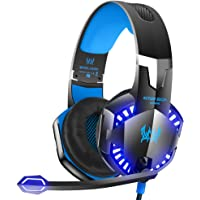 VersionTECH. G2000 Stereo Gaming Headset for Xbox One PS4 PC, Surround Sound Over-Ear Headphones with Noise Cancelling Mic, LED Lights, Volume Control for Laptop, Mac, iPad, Nintendo Switch Games -Blue