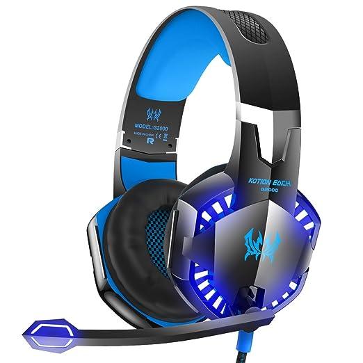 VersionTech G2000 Stereo Gaming Headset para PS4 Xbox Uno, Bass - Auriculares de Diadema con micrófono, Luces LED y Control de Volumen para portátil, PC, ...