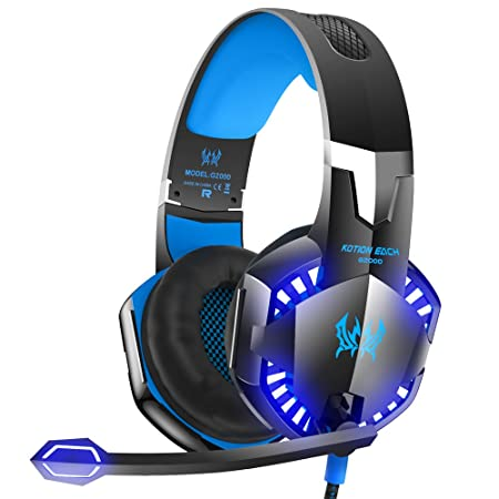 Review VersionTECH. G2000 Stereo Gaming Headset for Xbox One PS4 PC, Surround Sound Over-Ear Headphones with Noise Cancelling Mic, LED Lights, Volume Control for Laptop, Mac, iPad, Nintendo Switch Games -Blue