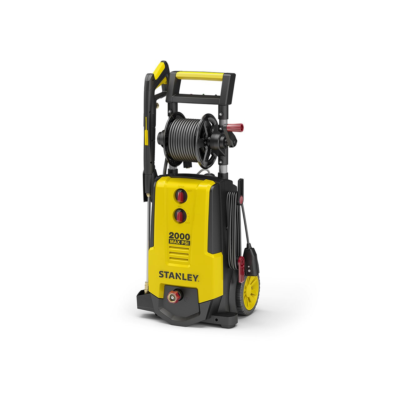 Stanley SHP2000 2000 psi Electric Pressure Washer with Nozzles, Spray Gun, Hose Reel, 30' Hose & Detergent Tank, Yellow, Medium