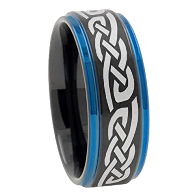EMYF 8mm Tungsten Carbide Celtic Band Matte Black Blue Step