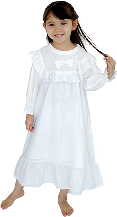 Victorian Kids Costumes & Shoes- Girls, Boys, Baby, Toddler White Nightgown for Girls Cotton Pajama Princess Vintage Long Sleeve Dress for Toddler Kids 3-14 Years $22.99 AT vintagedancer.com