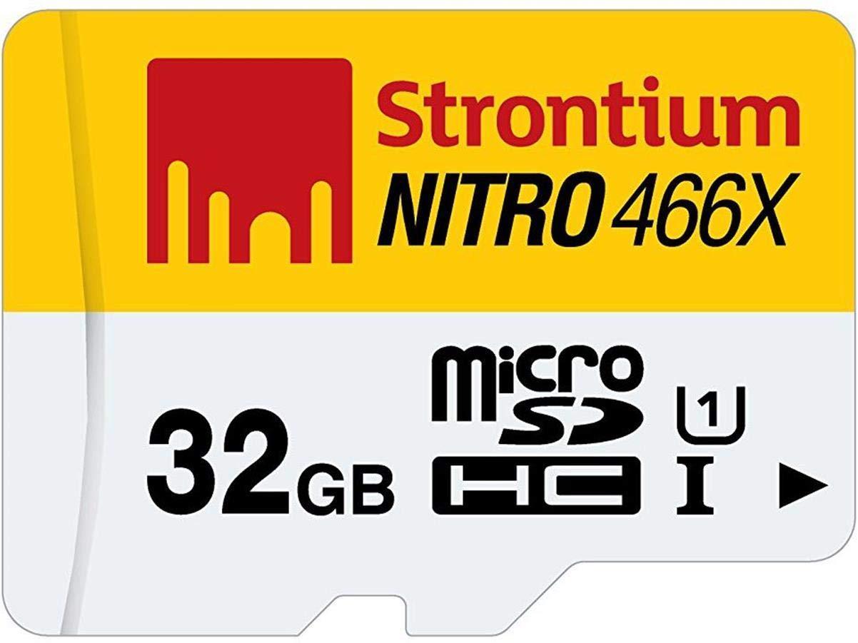 Strontium Nitro 32GB MicroSDHC Class 10 UHS-I Memory Card Up to 70MB/s (SRN32GTFU1R)