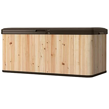 Outdoor Storage Containers For Deck With Lids Multifunctional Patio Storage  Trunk Modern Box Brown Shed Garden