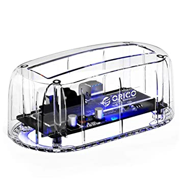 ORICO Hard Drive Docking Station USB 3.0 to SATA Transparent Laptop External Hard Drive Enclosure with UASP for 2.5 and 3.5 Inch HDD SSD, Support 5 ...