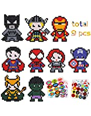 TICIAGA 5D DIY Diamond Painting Stickers Kits for Kids, Superhero Theme Stick Paint with Diamonds by Number Kit Easy to DIY, Shine Sparkle Mosaic Stickers Handmade Art Crafts, 9pcs Cute Hero Stickers