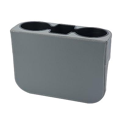 ATMOMO Gray Multifunctional Car Cup Holder Car Seat Organizer Gap Filler Bottle Phone Storage Organizer: Automotive