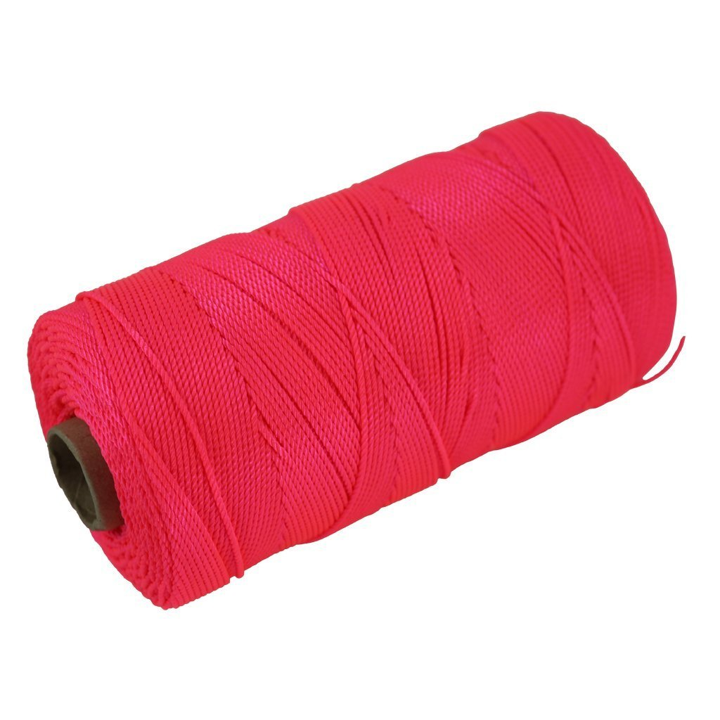 Twisted Nylon Mason Line #18 - Moisture, Oil, Acid & Rot Resistant - Twine String for Masonry, Marine, DIY Projects, Crafting, Commercial, Gardening (1100 feet - 24 Case Pack - Fluorescent Pink) by SGT KNOTS